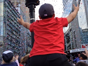 One of my favorite pictures from one of my favorite days of the past year: Soaking in the excitement of the Red Sox Rolling Rally after they won the World Series